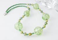 Green Hollow Bead Necklace