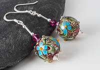 Flowery Lampwork Earrings