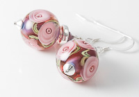 Pink Rose Lampwork Earrings alternative view 2