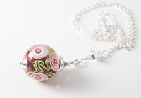 Pink Rose Lampwork Pendant alternative view 2