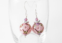 Pink Rose Lampwork Earrings alternative view 1