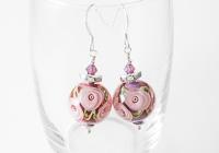 Pink Rose Lampwork Earrings alternative view 1
