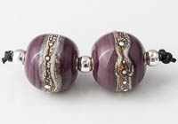 Ivory Banded Lampwork Beads