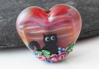 Kitty Lampwork Heart Bead alternative view 2