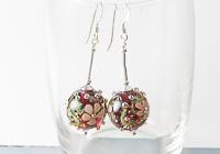 Pink Flowery Lampwork Earrings alternative view 1