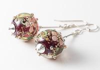 Pink Flowery Lampwork Earrings alternative view 2