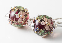 Pink Flowery Lampwork Earrings