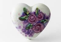 Flowery Lampwork Heart Bead