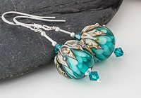 Teal Flowery Lampwork Earrings