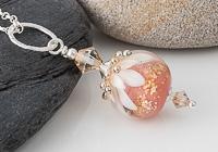 Peachy Dahlia Lampwork Pendant