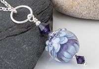Purple Dahlia Lampwork Pendant