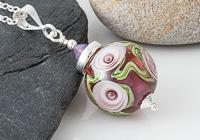 Pink Rose Lampwork Pendant