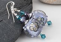 Purple Flowery Lampwork Earrings