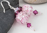 Pink Dahlia Lampwork Earrings