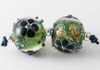 Dichroic Lampwork Flower Beads