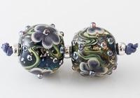 Glittery Lampwork Flower Beads