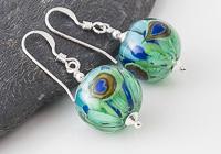 Peacock Dahlia Lampwork Earrings