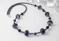 Purple and Grey Lampwork Necklace