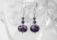 Grey and Purple Silver Earrings