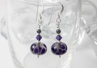 Grey and Purple Silver Earrings