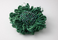 Dark Green Beaded Flower Brooch