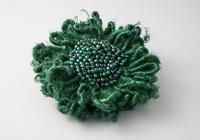 Dark Green Beaded Flower Brooch