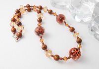 Amber Lampwork Dahlia Necklace