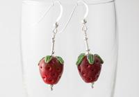 Lampwork Strawberry Earrings