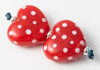 Red Lampwork Heart Beads