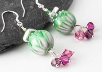 Pink and Green Lampwork Earrings