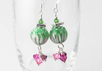 Pink and Green Lampwork Earrings alternative view 1
