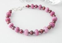 Pink Pearl and Lampwork Bracelet