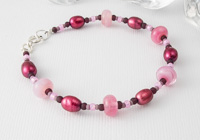 Lampwork Glass and Pearl Bracelet