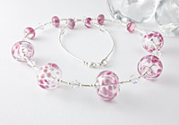 Pink Hollow Bead Lampwork Necklace