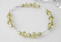 Silver, Pearl and Lampwork Bracelet