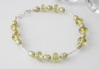 Silver, Pearl and Lampwork Bracelet