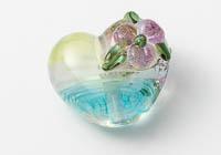 Pink Flower Lampwork Heart