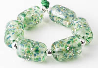 Mossy Lampwork Barrel Beads