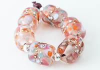 Peachy Lampwork Barrel Beads