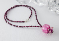 Pink Dahlia Lampwork Pendant Necklace