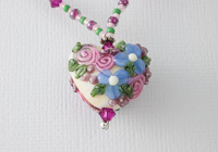 """Glass Garden"" Lampwork Heart Necklace"