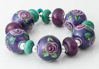 Purple Rose Lampwork Beads