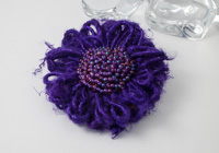 Purple Silk Flower Brooch