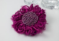 Pink Silk Flower Brooch