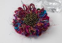 Multi Silk Flower Brooch