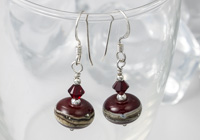 Dark Red Lampwork Earrings