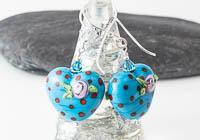 Blue Dahlia Lampwork Earrings alternative view 1