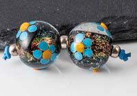 Dichroic Lampwork Flowery Beads