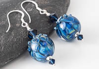 Blue Dahlia Lampwork Earrings
