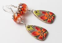 Dahlia and Ceramic Earrings